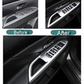 4 Pcs DIY Car Styling New ABS Windows Left Button Panel Cover Case stickers for Mitsubishi Outlander 2013-16 Parts Accessories