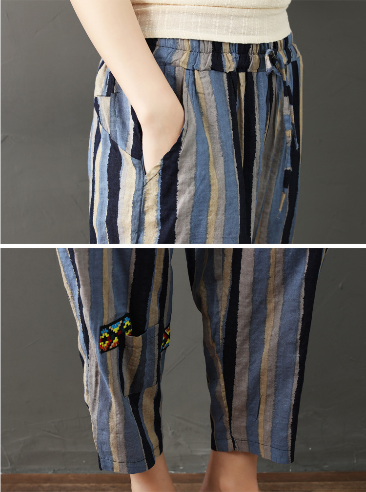 National wind striped cotton and linen nine pants women 2019 new literary large size female pants loose high waist harem pants 12