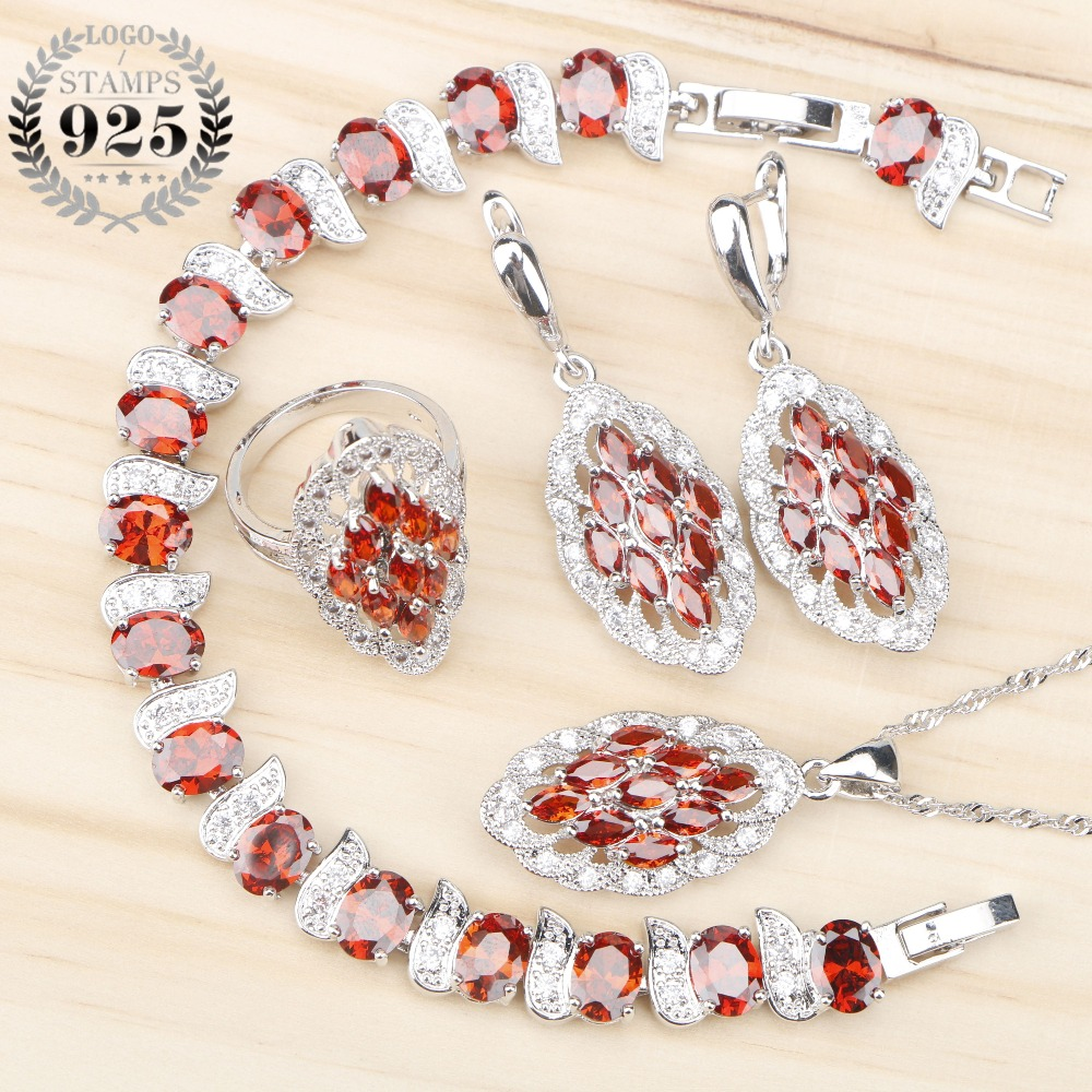 Red Zircon Women Costume Silver 925 Bridal Jewelry Sets Bracelet/Pendant/Necklace/Rings/Earrings Set With Stones Jewelery Box