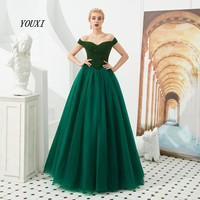 Green Prom Dresses 2019 Beading Long Tulle Floor Length Off Shoulder Sweetheart A Line Evening Gown Party Formal YOUXI
