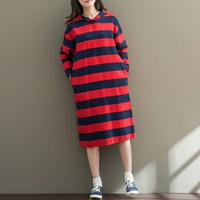 ZANZEA Long Sleeve Round Neck Striped Hooded Pullover Knee Length Dress Lady Autumn Fashion Leisure Casual