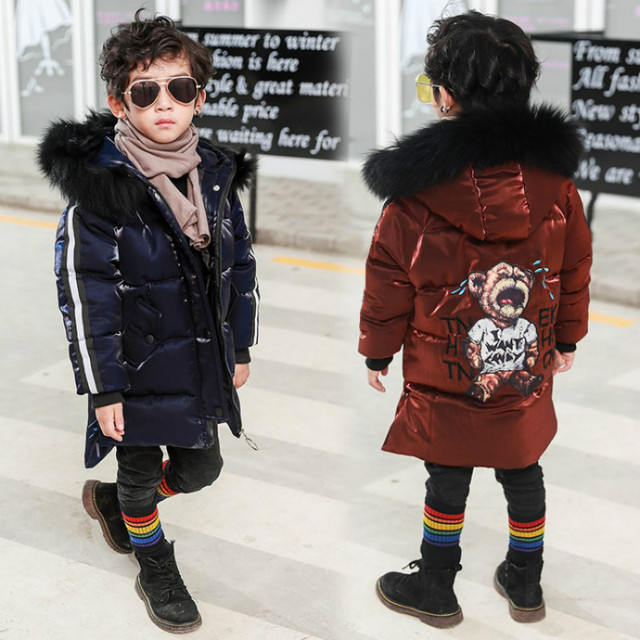 Flash Sale 2018 Fall Winter Little Boys Fashion Cotton Padded Jacket Children Bright Silk Coats Baby Kids Velvet Wadded Clothes