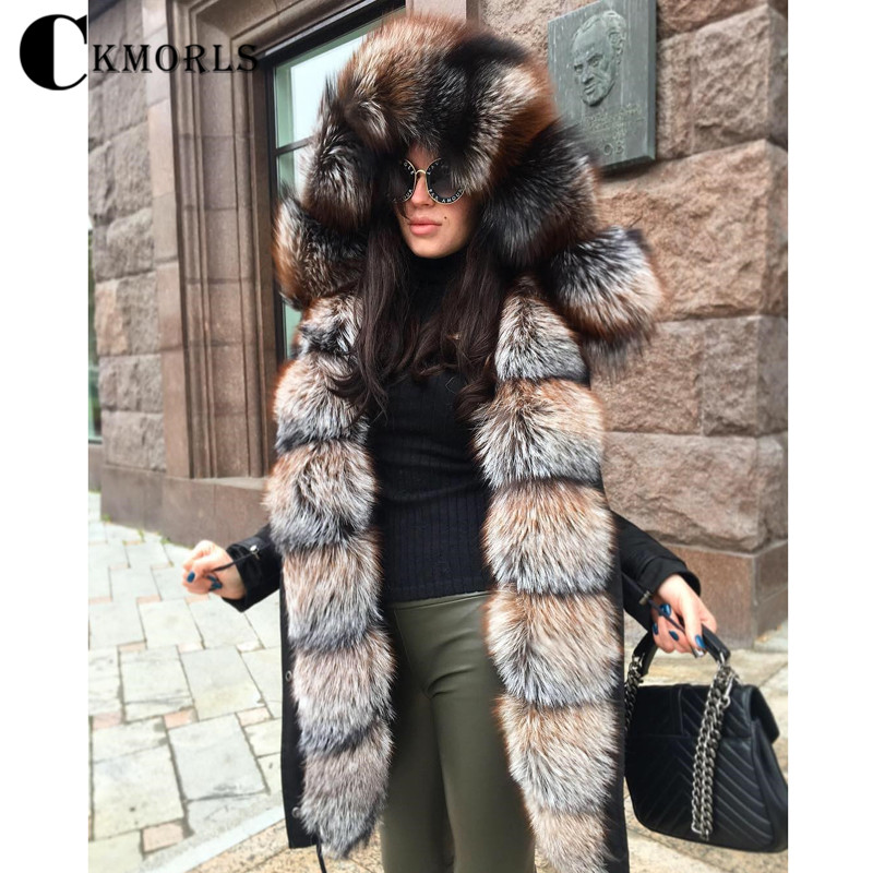 CKMORLS New Real Fur Parka For Women Winter Jacket With Natural Fox Fur Collar Balck Outwear Thick Warm Coats 80CM Long Jackets