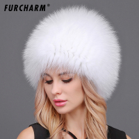 Winter Fur Hat for Women Fluffy Fox Fur Knitted Beanies Hat Casual Women Fur Caps Russian Winter Real Fox Fur Hats for Women