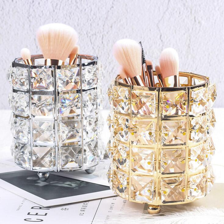 European Makeup Brush Storage Tube Gold Crystal Metal Jewelry Box Eyebrow Pencil Cosmetics Storage Box Desktop Pen Holder 04304