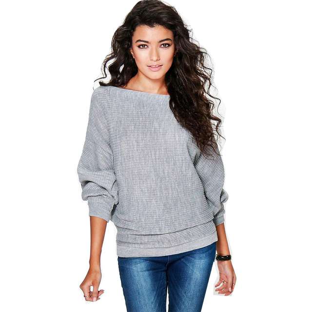 a88d6dfad7 Sweater women 2018 Autumn and spring Fashion loose bat sleeve knit round  neck casual pullovers quick sell womens sweater OYM0202-in Pullovers from  ...