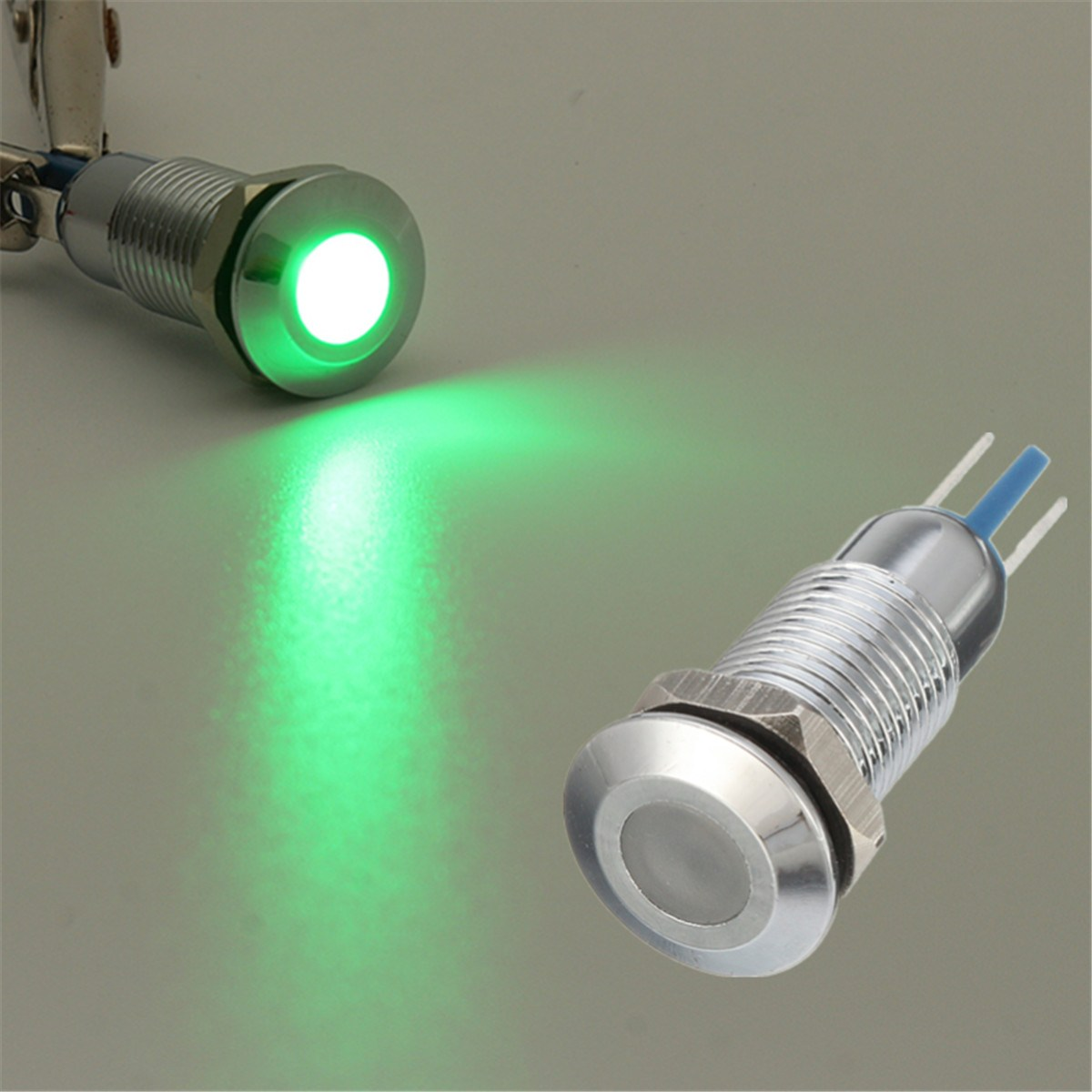 2x Metal 8mm Green LED Indicator Warning Light Lamp Pilot Panel Dashboard Car Boat Truck
