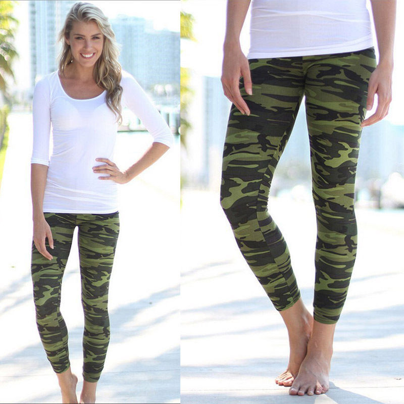 15ad06c22d38a Women Fashion Camouflage Leggings Bodycon Sexy Women Leggings Casual Pants  Stretch Army Green Leggings Pants For Mature Women-in Leggings from Women's  ...
