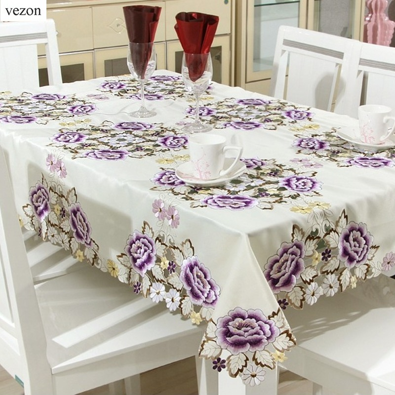 Vezon European Elegant Satin Embroidery Floral Tablecloths Handmade Embroidered Peony Flower Table Cloth Towel Cover Overlays