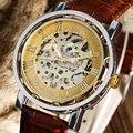 Mulheres de luxo Mão-Liquidação Relógio de Pulso Mecânico Pulseira de Couro Genuíno Strap Vestido Wind-up Número Roman Esqueleto Elegante