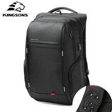 13fc3d67ed88 Kingsons usb充電アンチ盗難ラップトップバックパック男性多機能防水13/15/17インチのバックパックのための十代の若者たち男性旅行バッグ