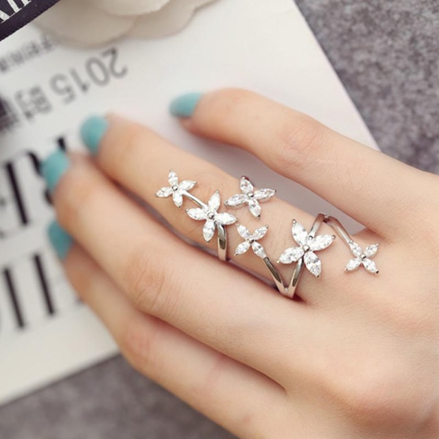 925 Sterling Silver Stylish Flower Ring