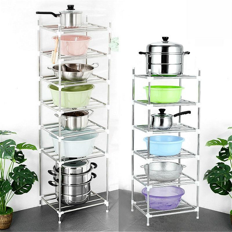 6 Layers Kitchen Storage Holder Rack Stainless Steel Pot Shelf  Kitchenware Pan Cover Corner Storage Rack Shelf Organizer