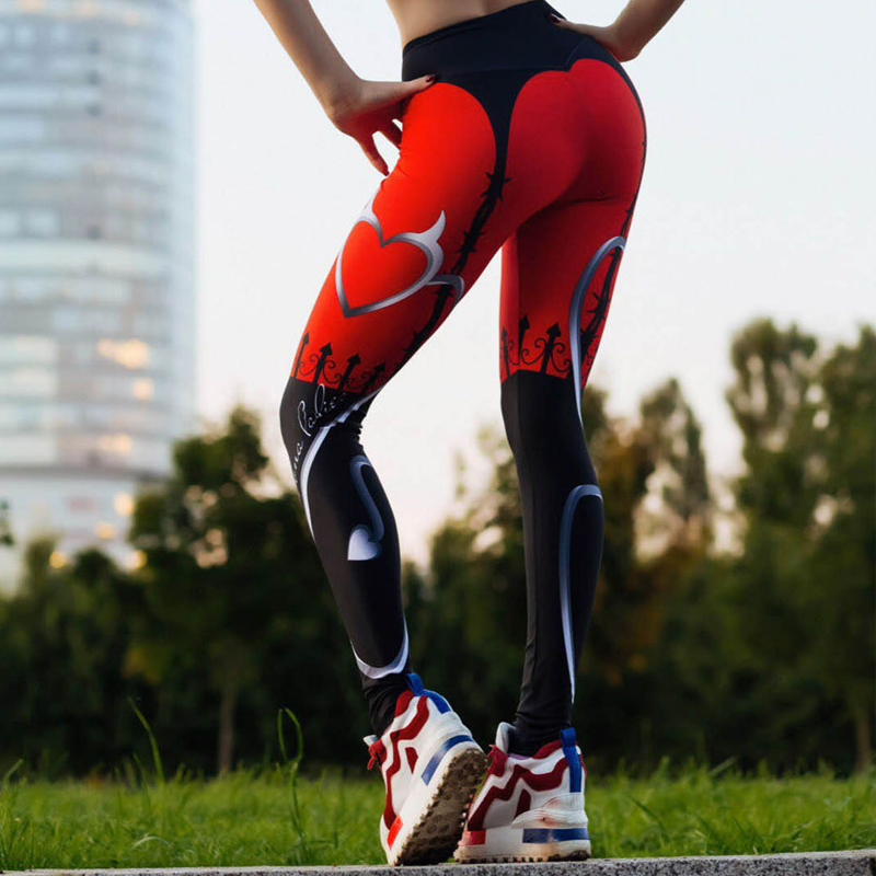 New Sexy Heart Print Leggings Women Red Black Patchwork Sporting Pants Fashion Printed Women's Fitness Leggings 3