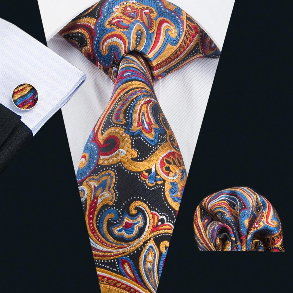 LS-1657 Barry.Wang 2017 Men`s Tie Set Silk Gravata Plaid Necktie Hanky Cufflinks For Wedding Business Party Free Shipping