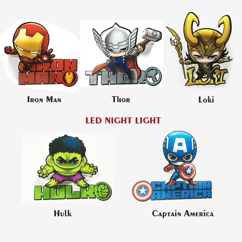 Mini Marvel Hero Shap LED 3D Nightlight for Kid Boy Gift Cartoon Wall Decoration Holiday Party Movies Lighting IY303164 creative led 3d nightlight hockey for kid boy gift wall decoration holiday party hockey lighting iy303166 5