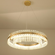 American Modern Luxury Crystal Chandelier Round annularity Model room club Villa Living room Restaurant Metal Chandelier Hotel