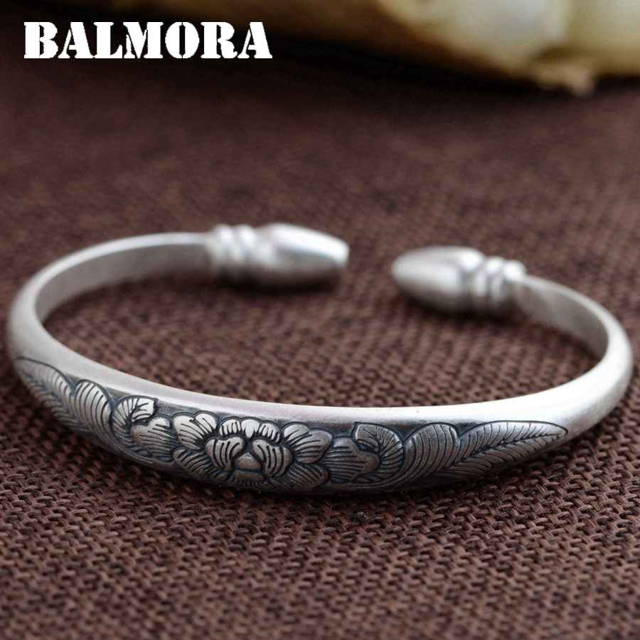 BALMORA 999 Pure Silver Flower Open Bangles for Women Mother Gift about 17cm Bracelet Silver Jewelry Pulsera Accessories SZ0283BALMORA 999 Pure Silver Flower Open Bangles for Women Mother Gift about 17cm Bracelet Silver Jewelry Pulsera Accessories SZ0283