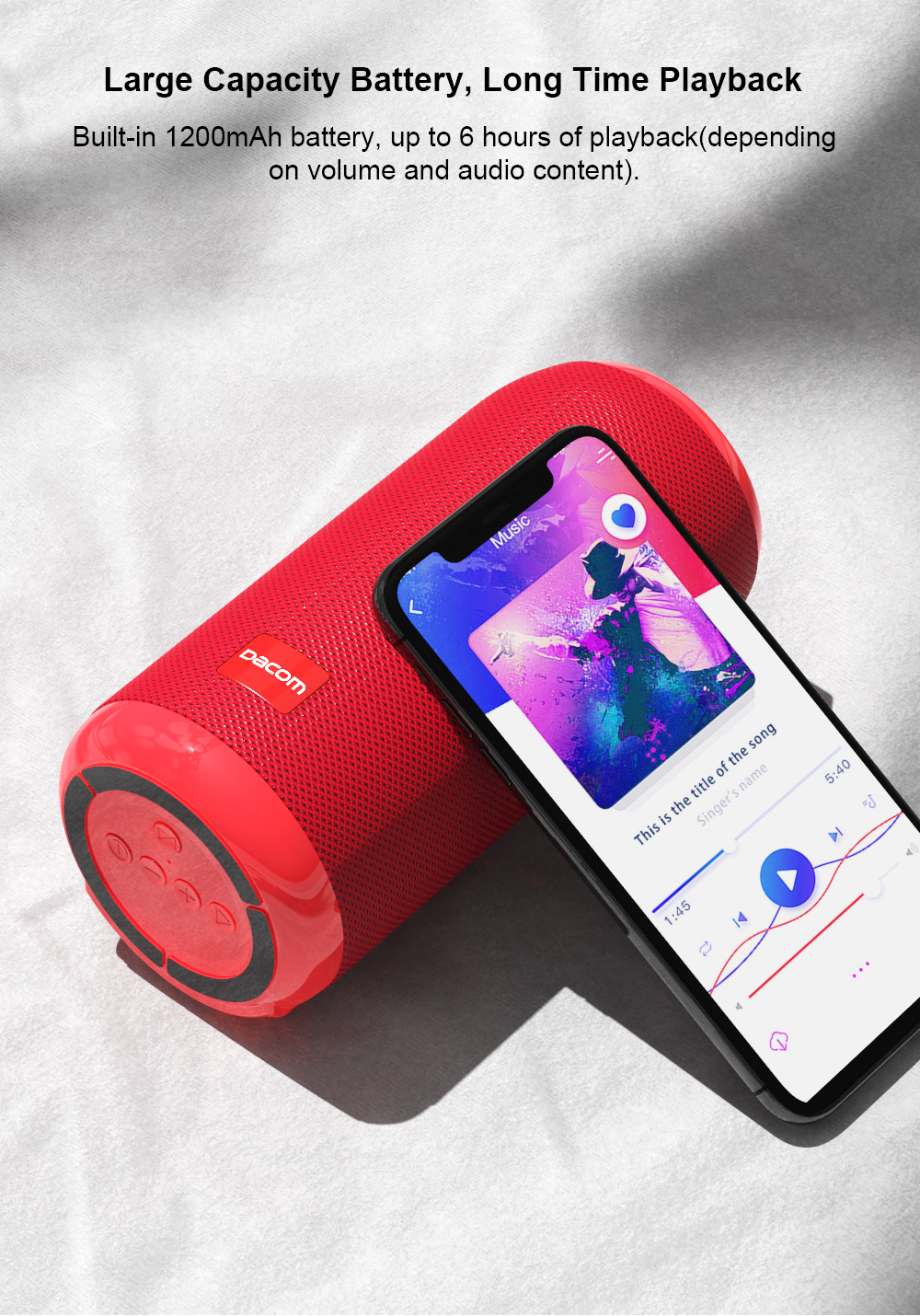DACOM Q53 Mini Portable Bluetooth Speaker With Bass 3D Stereo Music Sub Woofer And TF Card Support 6