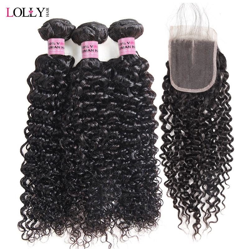 Malaysian Kinky Curly Bundles with Closure 3 Bundles With Closure 100 Human Hair Bundles with Closure
