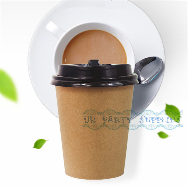 Free Ship 50pcs Brown Kraft Paper Cups 280ml Party Disposable Drinking With Lid Eco Friendly