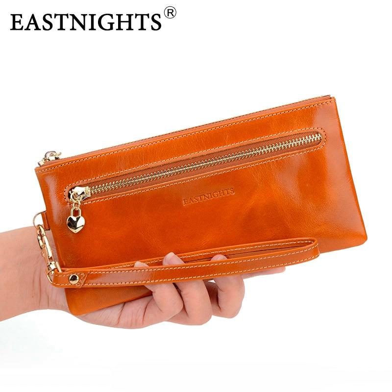 EASTNIGHTS 2019 new genuine leather women wallets vintage cowhide ladies clutch bags women brand purse TW1190