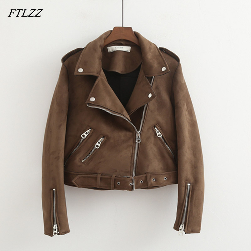 FTLZZ New Faux   Suede   Womens Motorcycle Jacket Autumn Faux   Leather   Jacket Female With Belt Slim Short Biker Coat