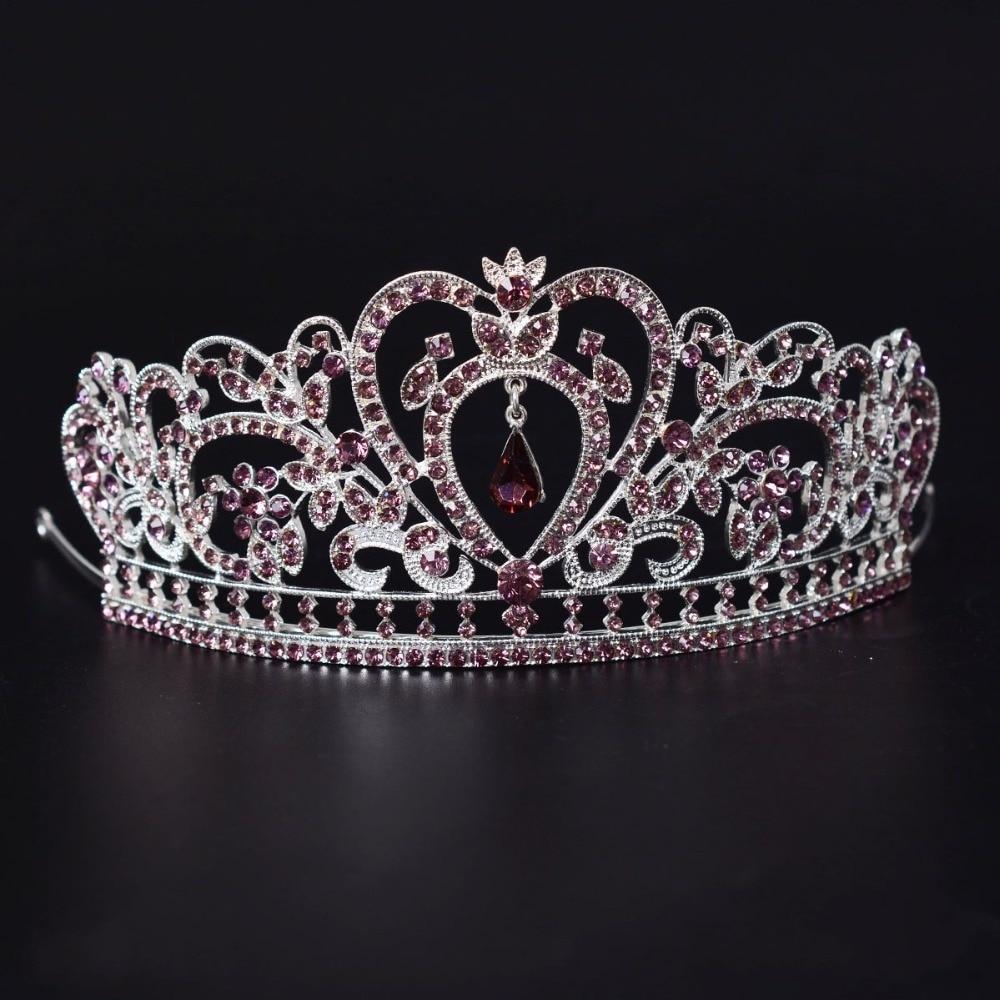 Bridal Purple Crystal Tiaras Princess Queen Pageant Crown Rhinestone Veil Tiara De Noiva Headband For Wedding Hair Accessories In Jewelry From
