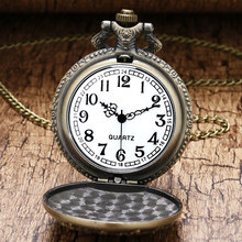 Antique Big Size Forest Truck Pocket Watch Retro Bronze Necklace Watches for Men Women Gift