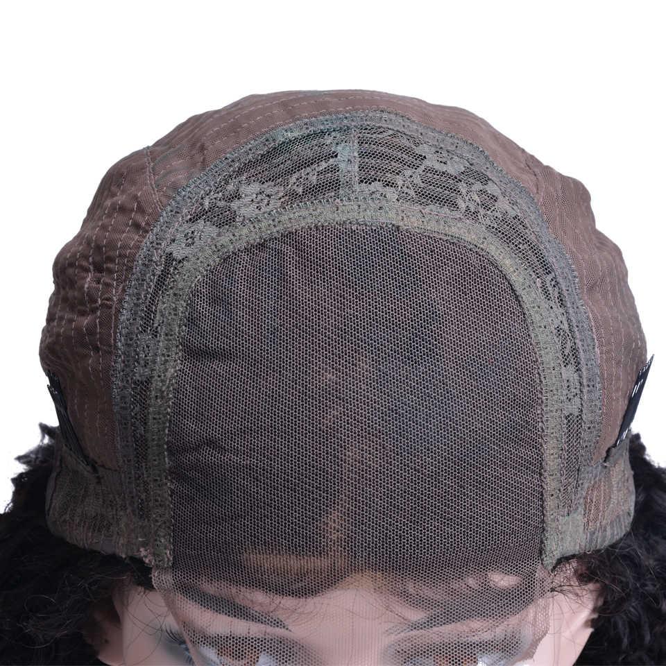Индийские кудрявые парики с закрытием шнурков предварительно сорванные с волосами младенца Remy кружева Закрытие человеческих волос парики для черных женщин