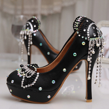 Gorgeous Diamond Lady Shoes Wedding Party Sparkling Wedding High Heel Platform Crystals Shoes Aesthetic Rhinestone Bridal Shoes