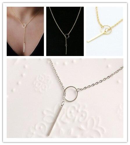 Горяч-продавая мода бар простой ожерелье изысканный красивая простой золотой бар лариата ожерелье подарок