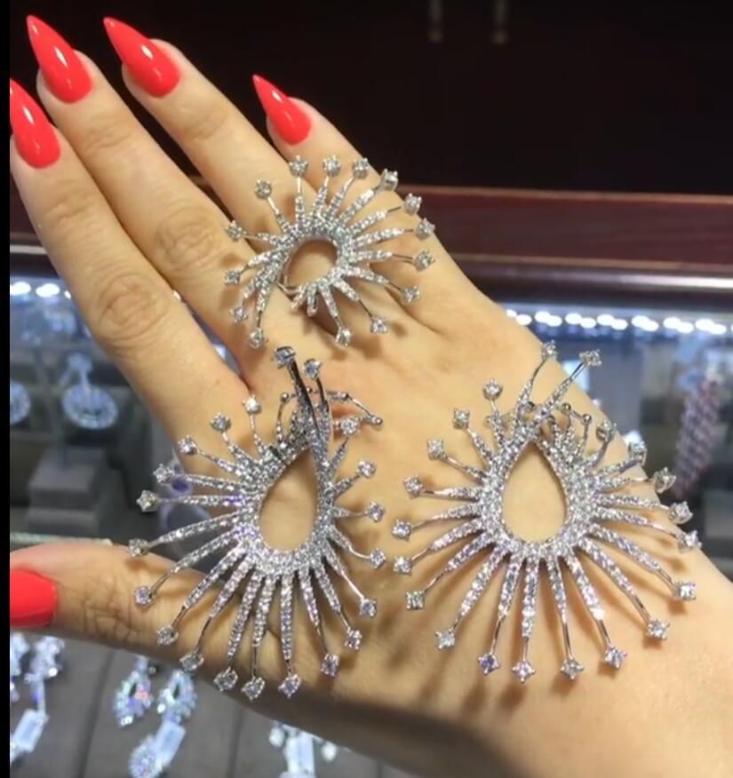 GODKI 59mm feux d'artifice de luxe étoiles lumières Micro cubique zircone femmes nuptiale mariage boucle d'oreille bague ensemble de bijoux