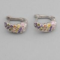 Flawless Multi Color MultiGem 2 2mm Semi Precious Silver Cool For Womens Earrings ED0715