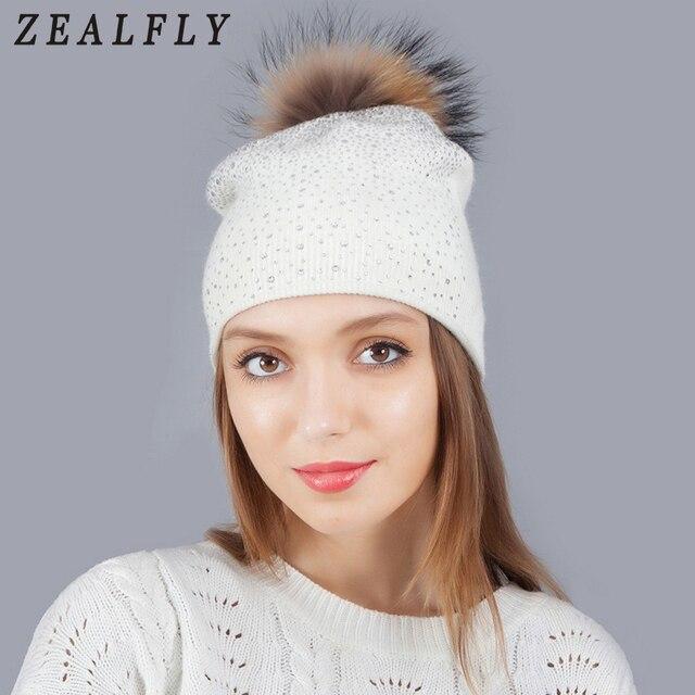 Mink Fox Fur Ball Hat Women Girl 'S Wool Hat Fur Pom Pom Female Winter Hats Knitted Cotton Beanies Cap Brand Stocking Hat