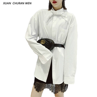 XUANCHURANWEN Female White Cotton Blouse Women Long Shirts With Long Sleeves Loose Plus Size Casual Autumn