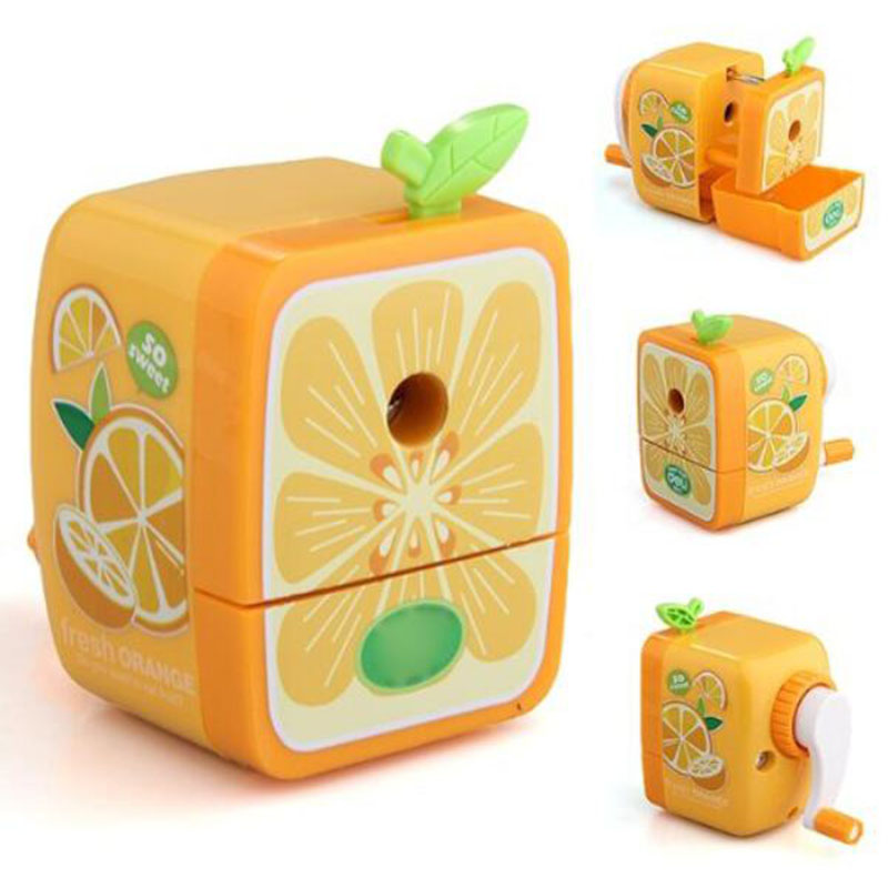 1pc / Manual Wrinkling Pencil Sharpener Desktop Stationery Children Roll Mill Office Supplies Necessary Orange