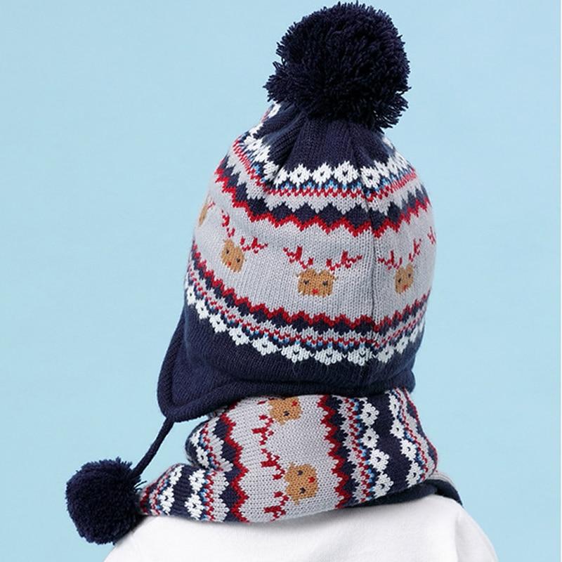 Children Hat Winter Christmas Elk Pattern Hat for Boy Girls Winter Warm Hat  Kids Ear Flap Cap Kids Crochet Thickened Caps Scarf  1298d161b4ee