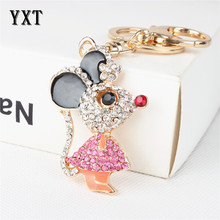 Nifty Lovely Mouse Rat Charm Pendant Cute Rhinestone Crystal Car Purse Bag Key Chain Jewelry Creative Party Birthday Gift