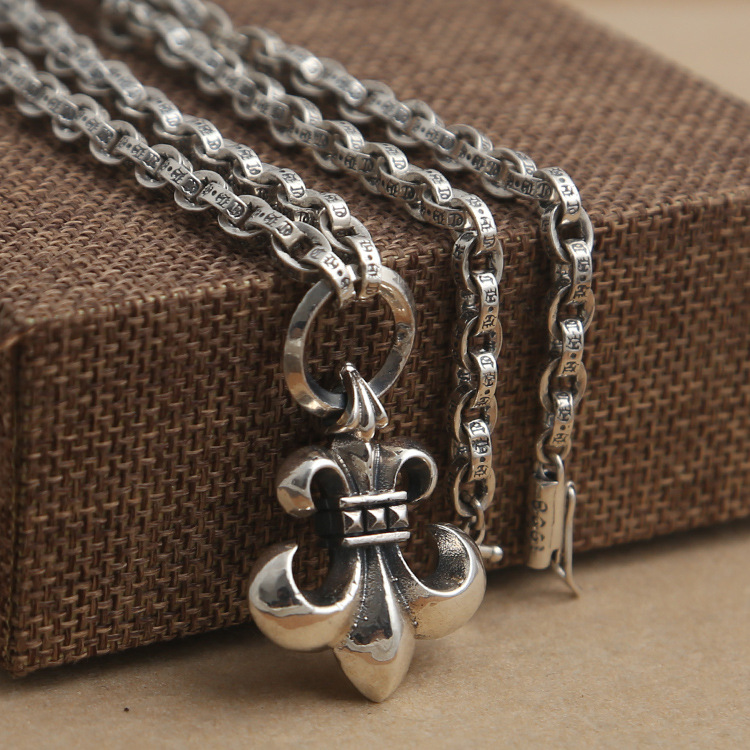 Wholesale S925 Sterling Silver Jewelry Fashion Personality Thai Silver Boat Anchor Pendant With CH Letter Necklace Sweater Chain