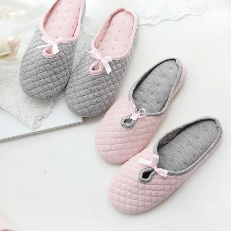 New cute Bowtie Spring Women Home Slippers For Indoor Bedroom House Soft Bottom Cotton Warm Shoes Adult Guests Flats shoes home slippers soft plush cotton cute slippers shoes non slip floor indoor house home fur slippers women shoes for bedroom