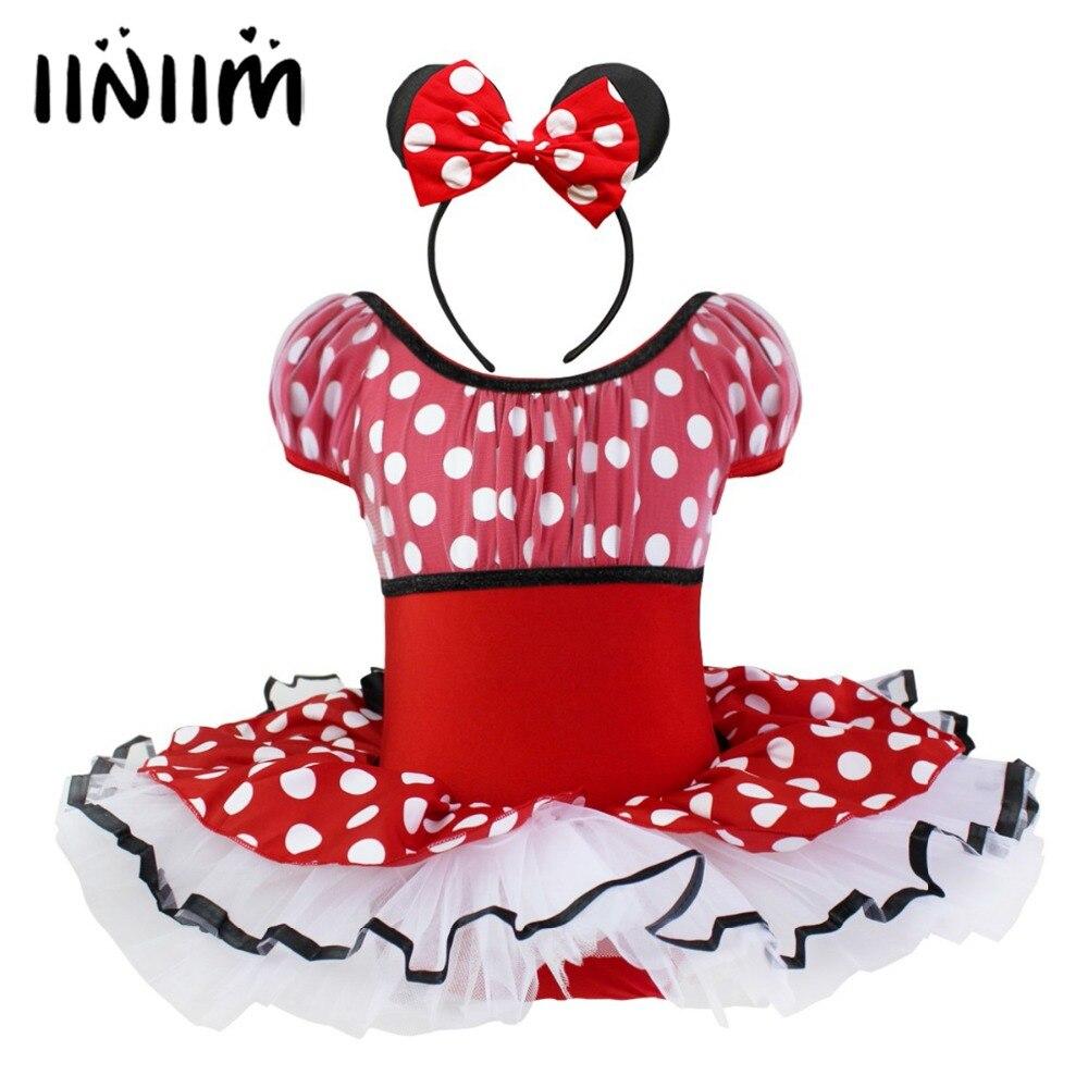 iiniim Children's Ballerina Polka Dot Cosplay Fancy Dress Tutu Dancewear Kids Ballet Costumes Dance Gymnastics Leotard for Girls