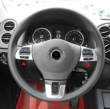 ABS Chrome Para Volkswagen VW Tiguan 2009 a 2015 Botão Decoração guarnição da tampa do volante Do Carro auto acessórios styling
