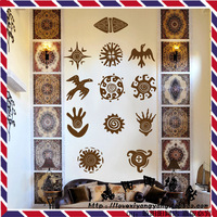 Africa Maya Face Totem Creative Pattern Large Pub Bar Wall Decals Wall Stickers Covering Home Decor