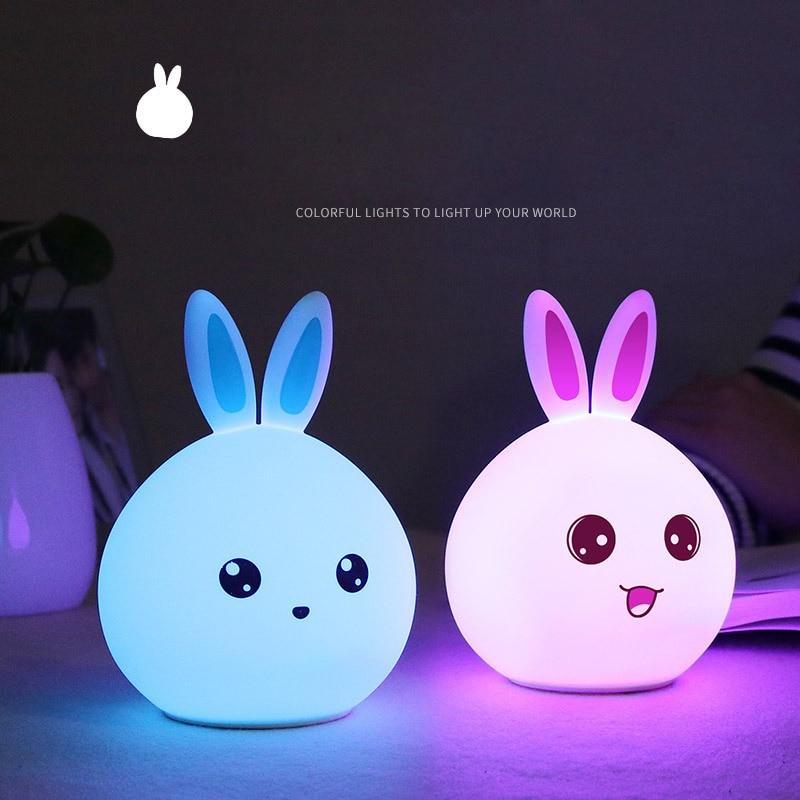 Friendly Cute Rabbit Led Night Light Sleep Lamp Touch