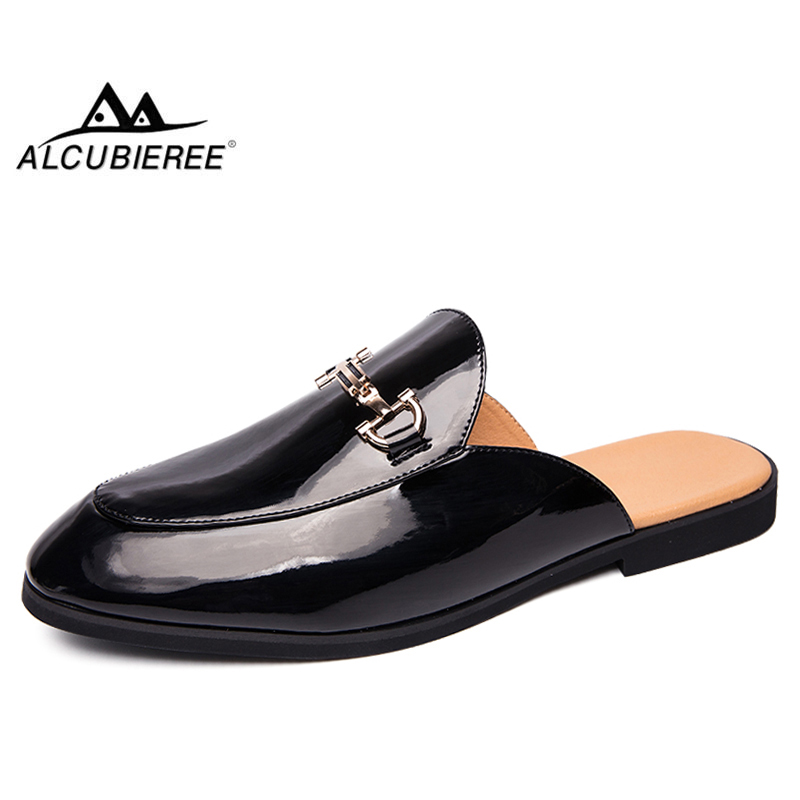 ALCUBIEREE Fashion Mens Mules For Adult Casual Slip-on Drag Shoes Patent Leather Smoking Shoes Solid Half Loafers Man Slipper
