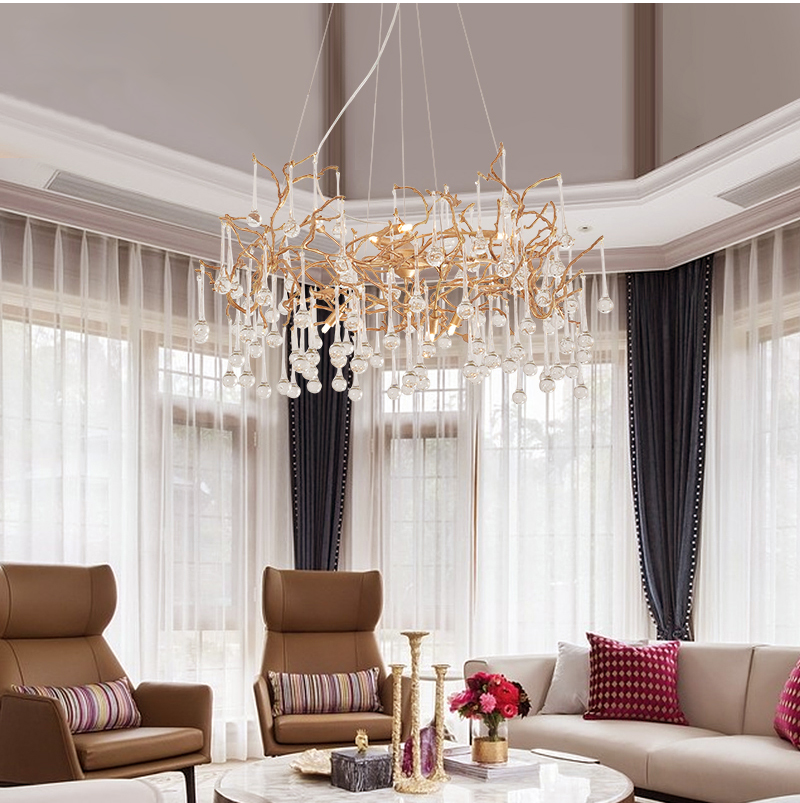Phube Lighting Artistic Branches Crystal Chandeliers Light Water Drops Chandelier Light Colored Glazed Salon Copper Chandelier Chandeliers     - title=