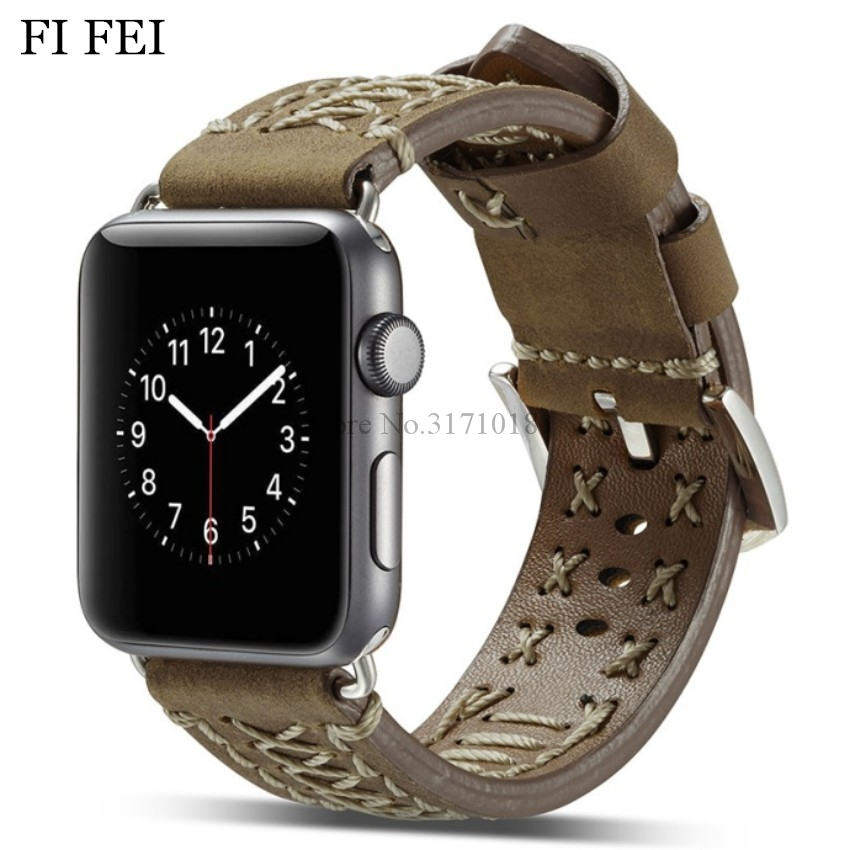 FI FEI New Leather Watchband for Apple Watch Band Series 3 2 1 Wrist Bracelet Strap 42MM 38MM 38 42 mm Fabric line Leather new arrival for apple watch band high quality wooden watchband black brown strap for apple watch band series 3 2 1 42mm 38mm