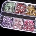 500 unids 2mm REDONDA RHINSTONES 12 Colores Del Estuche Rígido Consejos Gel ULTRAVIOLETA de Acrílico DEL ARTE DEL CLAVO smt 101