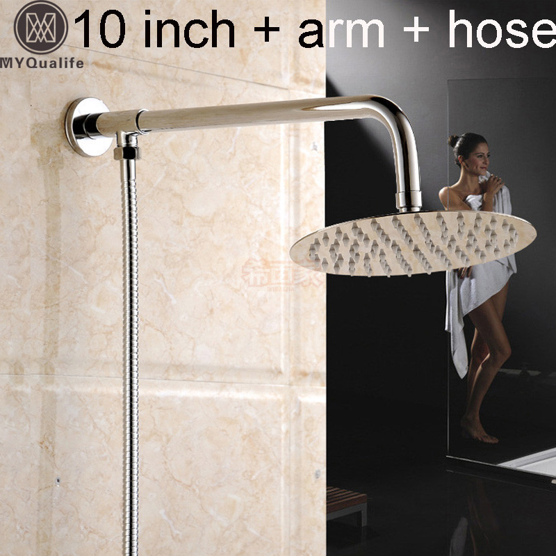 ᐅpolished Chrome Wall Mount 10 Brass Rain Shower Head Square/round ...